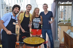 Some of our work experience trainees, helping with paella activity